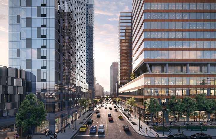 Tishman Speyer pre-leased more than half of its $700 million office-retail complex, shown in a rendering. Photo: Tishman Speyer